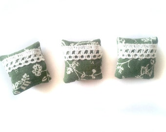 1:12 Set of 3 Miniature green laced dollhouse pillows