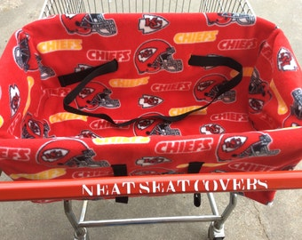 Shopping Cart Seat Cover, Kansas City Chiefs. Black or Yellow backing