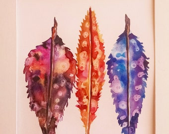 Feather watercolor painting, Original watercolor painting, feathers
