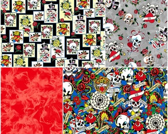 Love is True Ed Hardy Cotton Fabric by Quilting Treasures! [Choose Your Cut Size]