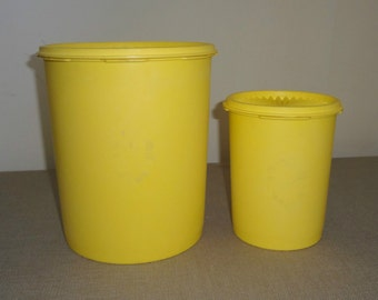 Set of 2 Vintage Retro Larger Nesting Tupperware Yellow Canisters Tubs