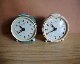 One! Extremely Rare Old Vintage Alarm clock VITYAZ Trivox Silentic model from Ussr era / mehanical CLOCK / working Clock / Home decor 1970s