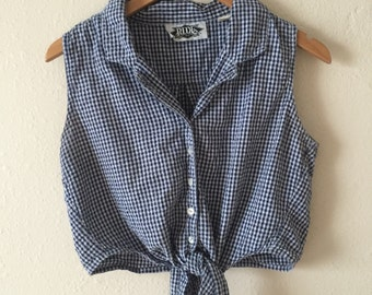 perfect CROP 90's GINGHAM sleeveless blouse