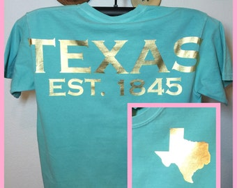 Texas T-shirt spirit short sleeve state shirt Texan pride lone star state or ANY state shirt