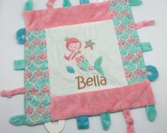 Personalized Baby girl gift, blankie toy, minky blanket, personalized baby gift, monogram baby blanket, taggie taggy girl blankie mermaid
