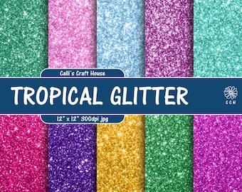 Tropical Glitter Digital Paper - glitter backgrounds in 10 tropical colors - digital glitter paper - Commercial Use - Instant Download