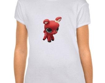 Girl's Custom Littlest Pet Shop Retro Deer Fitted Babydoll T-Shirt