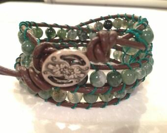 Triple wrap leather bracelet with green semi precious beads