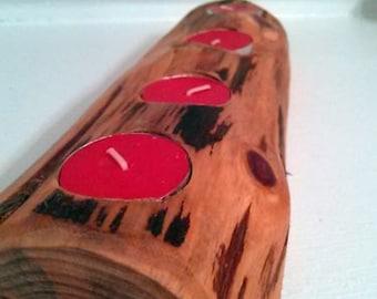 Cedar Log Tealight Candle Holder