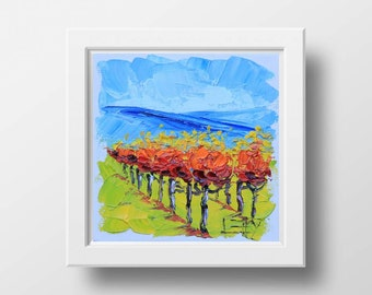 Vineyard Art Print, California Vineyard, Napa Valley, Wine Country, Wine, Vines, Grapes, Kitchen Decor, Original Oil Painting, Palette Knife