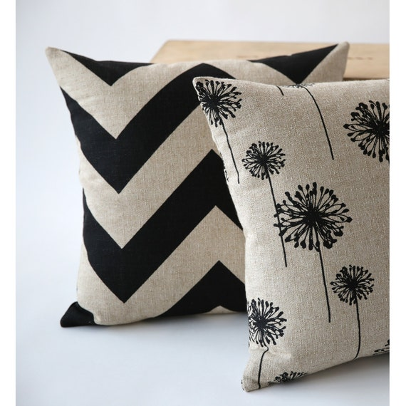 Rustic Decorative Pillow Cover Black Dandelion or by Pillomatic