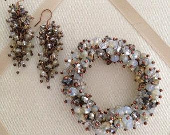 Vintage Periwinkle Blue Lustrous Bead Cluster Fashion Bracelet And Earring Set