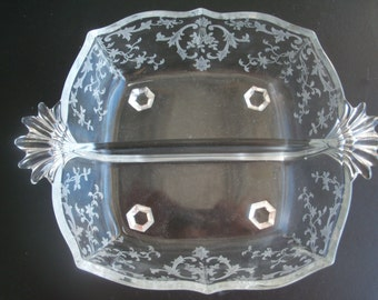 Etched Glass Two Handled Divided Bowl