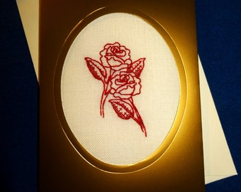 Blackwork rose card, love valentines personalized handmade embroidery greeting cross stitch flower custom linen blank greetings