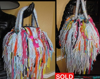 Whimsical,Upcycled Fringe Bag,Handmade Purse,unique Purse,Funky,Colorful,Playful