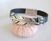 Gray Leather Feather Focal Bracelet - Item R3305