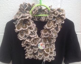 Scarf, ladies, knitted  short, brown, beige with flower button, collar, scarflette, neckwarmer , necklet