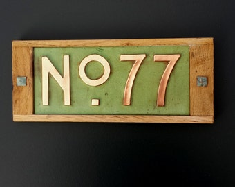 "Mission Mackintosh Custom House plaque 3""/75mm, 4""/100mm. high   2 x nos, in copper with oak frame, r"