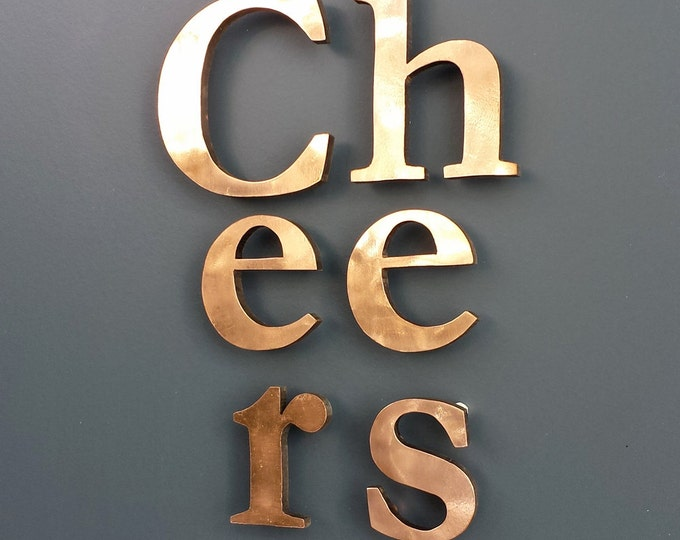 "Real Copper faced 3D letters in 4"" high Upper and lower case - floating  Garamond, Polished and  marine lacquered o"