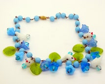 Glass Bird Blue Beaded Necklace with Glass Leaves, Glass flowers and Lucite flowers