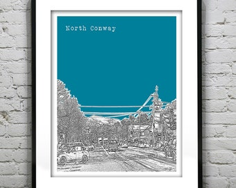 North Conway New Hampshire Poster Print Art Skyline  NH