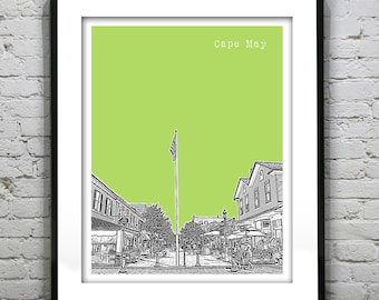 1 Day Only Sale 10% Off - Cape May New Jersey Poster Print Art NJ Shore Skyline Version 3