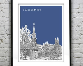 Williamstown Skyline Poster Art Print Massachusetts MA Version 2