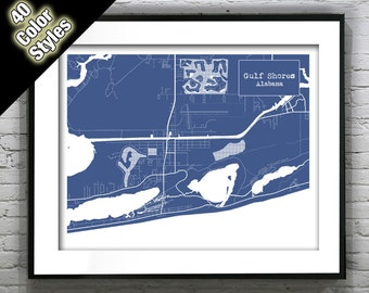 Gulf Shores Alabama Blueprint Map Poster Art Print - Several Sizes Available