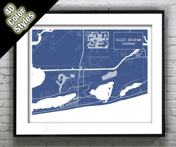 Gulf Shores Alabama Blueprint Map Poster Art Print Several