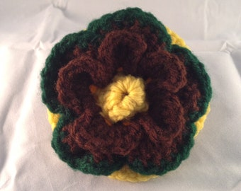 Crochet Flower Accessory Clip Yellow, Chocolate, Green