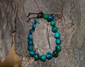 Chrysocolla Bracelet-Gemstone Bracelet-Men's Bracelet-Women's Bracelet-Knotted Bracelet-Unisex Bracelet-Adjustable Bracelet-Reiki Jewellery