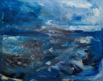 Grey Seascape Original Oil Painting 24 x 30 inch on stretched canvas by BrandanC