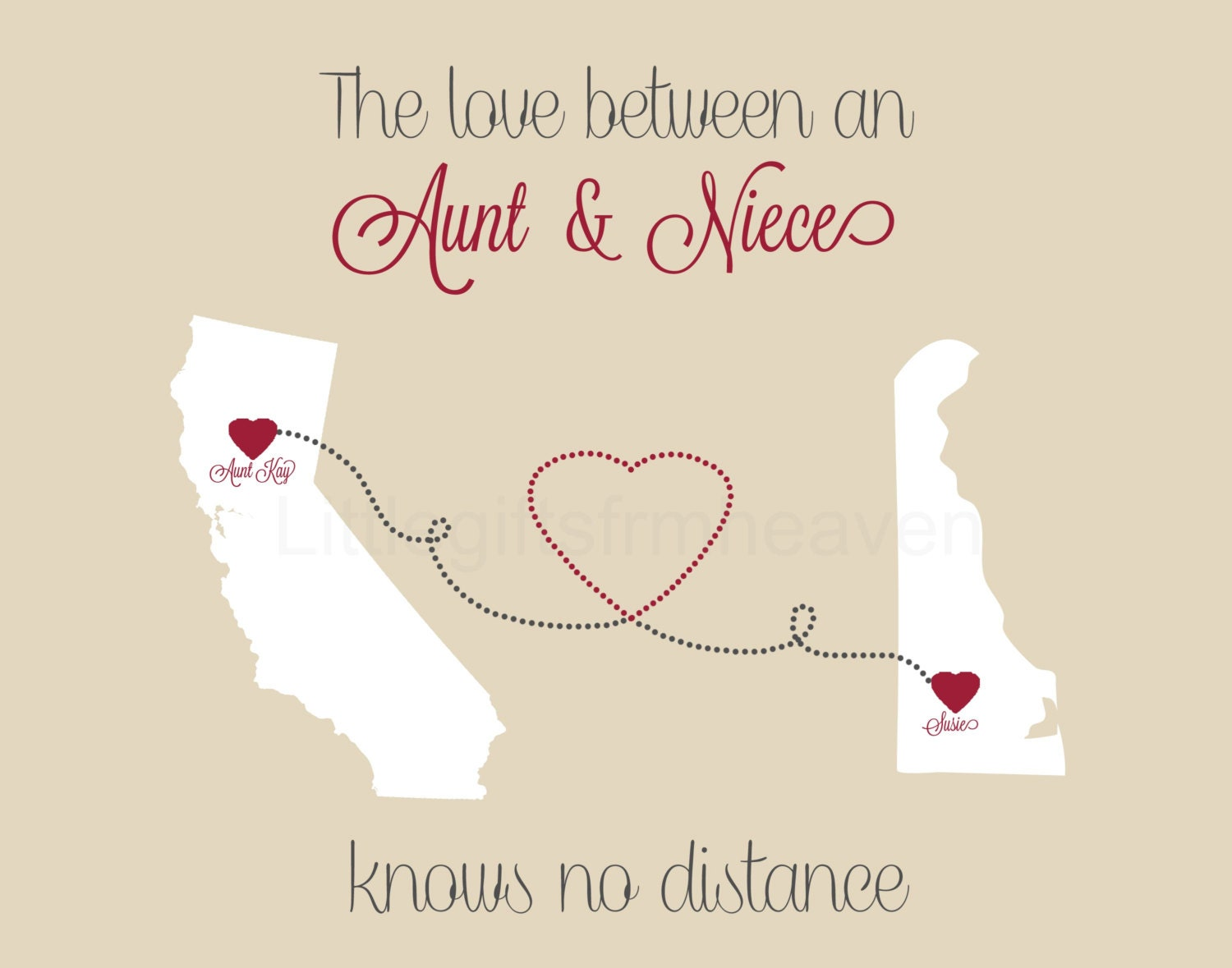 Love Knows No Color Quotes: Aunt & Niece States Print Long Distance Aunt Gift For Aunt