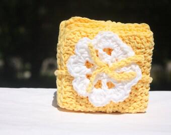 Yellow Crochet Baby Washcloths - Baby Wash Cloth - Baby Yellow Washcloths - Cotton Crocheted Washcloths