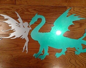 Dragon and Fairy Sign or Wall Hanging