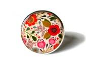 Flower ring, floral ring, colorful ring, red flowers, orange flowers, spring ring, handmade, flower vintage adjustable jewelery, colorful
