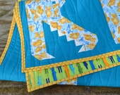 Baby Quilt for sale, baby boy, nursery, baby shower gift, quality patchwork, blue, green,yellow, alligator, crocodile, water theme.