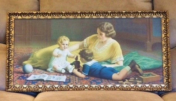 "1920s Art Deco Chromolithograph Francois Laubnitz 30"" Lithograph Print Gold Gilt Wooden Frame Nursery Babys Room Mother Child Home Decor Art"