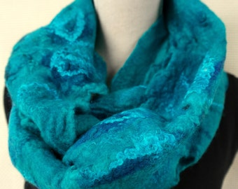 Felted shawl, aqua blue scarf, loop. Handmade for women.