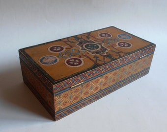 antique hand painted wooden box