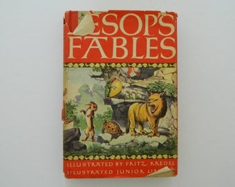 Aesop's Fables. vintage junior library illustrated edition.