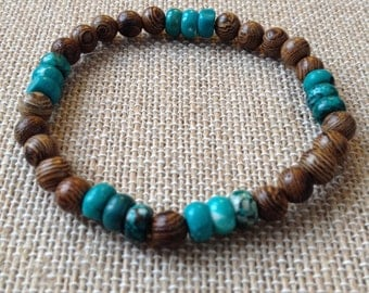 6mm wood and turquoise Magnesite stretch bracelet