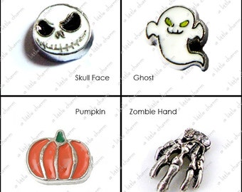 Living Locket Floating Charms - Skull Face, Ghost, Pumpkin, Zombie Hand, Halloween