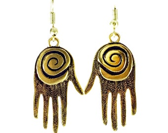 Bronze Spiral Hand Earrings Tsalagi Cherokee Made