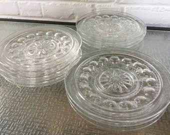U.S. Glass (Tiffin) King's Crown Thumbprint Salad or Dessert Plates
