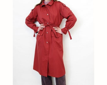 Vintage trench coat // 80s rust long belted French trench // size L