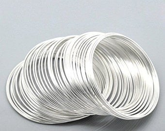 55mm SilverPlated Memory Wire - 100 Loops