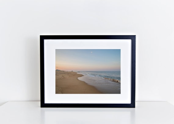 Pink Summer Skies // sunset, plum island, beach photography, pink, blue, ocean, coastal seashore,  summer, wall art, home decor