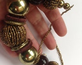 Necklace  large amber and gold and brown beaded high quality necklace retro design