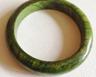 green stained wood bangle